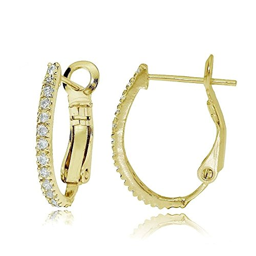 Gold Tone Over Sterling Silver Cubic Zirconia Oval J-Hoop Huggie Earrings, 18M