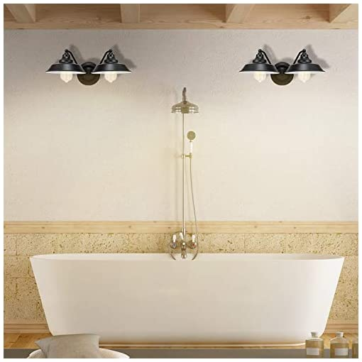 Farmhouse Wall Sconces 2-Light Wall Sconce E26 Hardwired Links Painted Finish Farmhouse Bathroom Vanity Light Fixture Wall Lamps for Indoor… farmhouse wall sconces