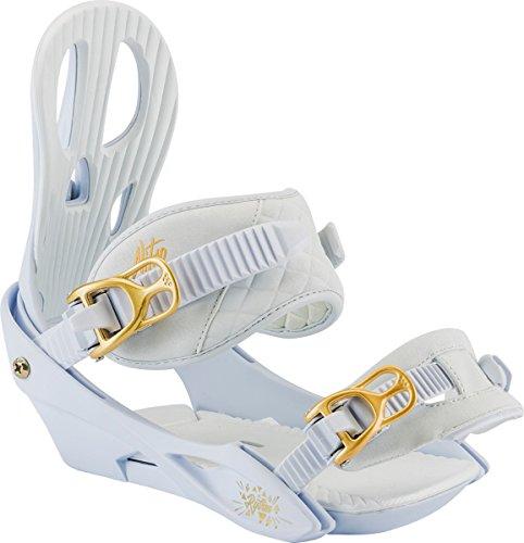 d 2018 Binding 2018 - Women's White Gold Large (Gold Snowboard Binding)