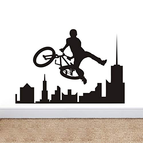 Sport Bike BMX Wall Decal Removable Amazing Extreme Sport BMX City Skyline Wall Sticker Home Living Room Interior Home Decor Teen Boys Room Sports Decal Murals NY-374 (57X83CM, Black)