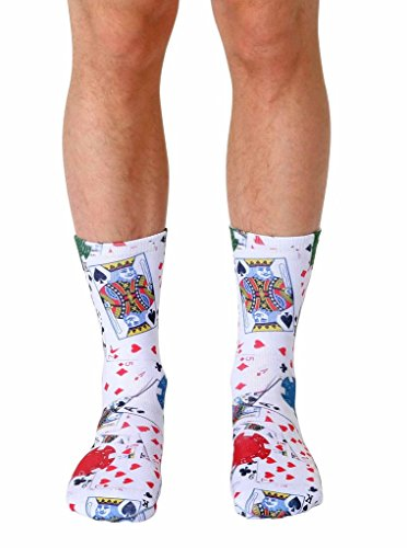 Living Royal POKER Crew Socks with a Helicase brand sock ring, Poker, One (Poker Stockings)