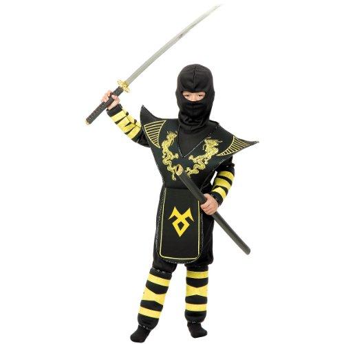 Child Gold Dragon Warrior Ninja Costumes (Golden Dragon Ninja Warrior Child Costume - Large)