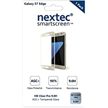 Galaxy S7 Edge Screen Protector, 3D (Full Coverage) Nextec® Corning® Tempered Glass Screen Protector for Samsung Galaxy S7 Edge (HD Clear Pro 9.0H) Corning® Gorilla Glass/ Gold