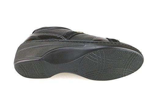 WALKSAN zapatos elegantes mujer cuero gamuza cuero de ante negro