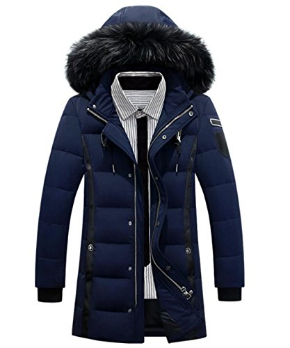 Fashion Jacket New Hooded Collar LINYI White Jacket Down Men's Blue Fur Down Thick Long Duck Winter zvOwE6vx