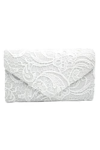 Asapbay Damentasche Clutch Abendtasche Barut Brautjunfer Mädchen Handtasche elegant Umhängetasche mit Ketten Elfenbein