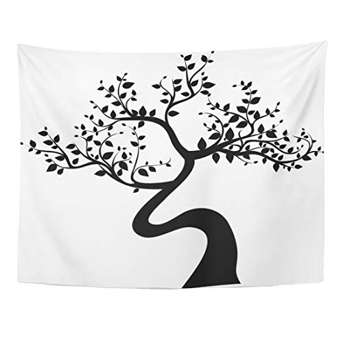 (Emvency Tapestry 60 x 50 Inches Family Black Tree Silhouette White Bonsai Japanese Abstract Plant Zen Japan Swirl Tapestries Wall Hanging Art Home Decor for Bedroom Dorm Living)