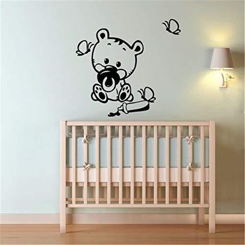 Decorative Wall Stickers Removable Vinyl Decal Art Mural Home Decor French Bébé Ours Avec Des Papillons Pour La Chambre Des Enfants Baby Bear with Butterflies for Kids Room