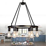 """OSAIRUOS Vintage Chandelier Kitchen Island Rustic Pendant Farmhouse Antique Chandeliers Ceiling Light Fixture for Dining Living Room Cafe Hallways Entryway 6 Lights W22"""" Review"""