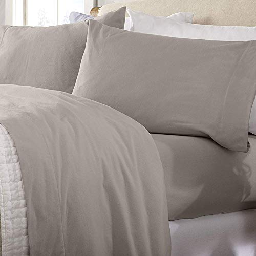 Great Bay Home Extra Soft 100% Turkish Cotton Flannel Sheet Set. Warm, Cozy, Lightweight, Luxury Winter Bed Sheets in Solid Colors. Nordic Collection (Full, Taupe)