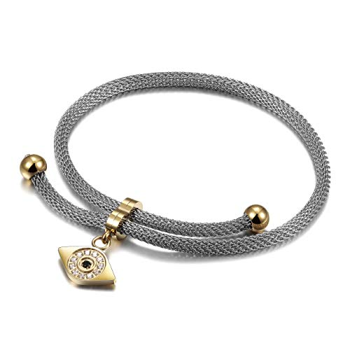 - CIUNOFOR Charm Bracelet for Women Girls Italian Style Evil Eye CZ Bracelet with Adjustable 10.24 Inches Chain Link(Evil Eye)