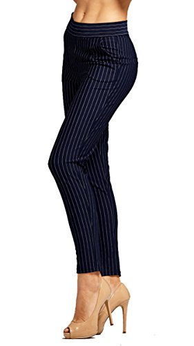 [Women's Dress Pants - Slim and Bootcut - 7 Colors - by Conceited (Medium, Slim Pin Stripe Navy Blue)] (Navy Pinstripe Dress)