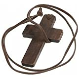 Wooden Cross Necklace Christianity Jewellery Fashion Religion Leather