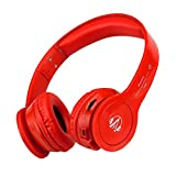 Akonier Bluetooth Headphones with Microphone,S450 Foldable Wireless Headphone,Fashion Super Bass Stereo Sound Earphones,Gaming or Music Headset Headphones for MP3/4 Player/Smart Phone/Tablet (Red) For Sale