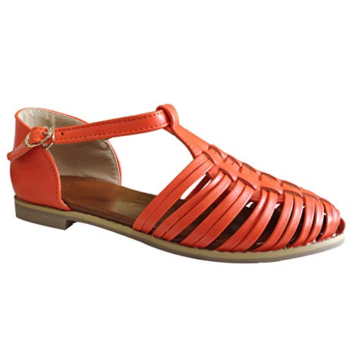 Goddessvan Women's Closed Toe Cage Strappy Platform Sandals Casual Beach Walk Flat Shoes Orange (Strappy Low Heel Sandal With Crystals By Blossom)
