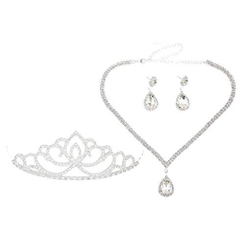 MagiDeal Parure Collier et Boucles d'Oreilles Goutte D'eau Strass+Diadèmre Princesse Set Bijoux Pour Mariage