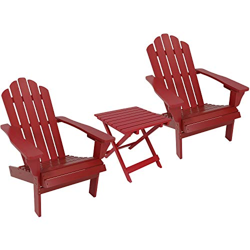 Sunnydaze Wooden Outdoor Adirondack Chair and Folding Patio Side Table Set, ()