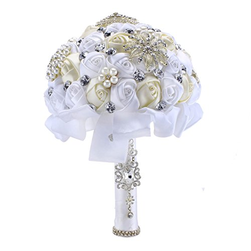 Zebratown 8'' Ivory&White Advanced Customization Romantic Wedding Holding Rose Flower Bridal Bouquet Pearls Silk Rhinestone Bouquet (Silk Rhinestone)