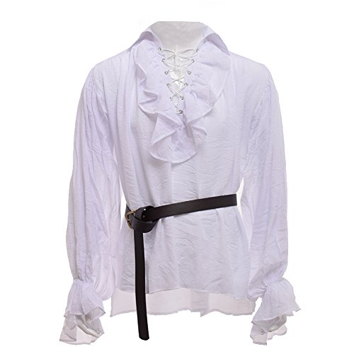 GRACEART Men's Medieval Nordic Shirts With Belt - Gauze Pirate Shirt