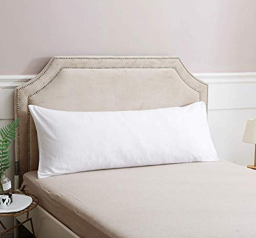 Vedanta Home Collection Body Pillowcase 20'' x 48'' White, 600 Thread Count 100% Natural Cotton, One Body Pillow Cover/Pregnancy Pillow Case with Envelope Closure ()