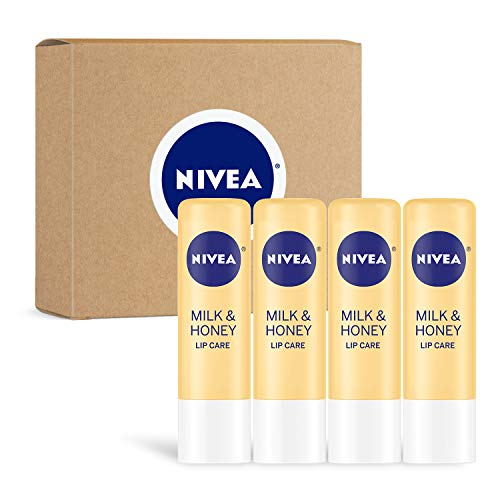 NIVEA Milk & Honey Lip Care - Moisturized Lips All Day - 0.17 oz Tube - 4 Pack