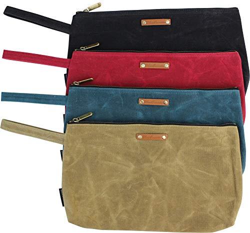 Waxed Canvas Zipper Tool Pouch Bags Heavy Duty Brass Zipper, 4 Pack 13.5