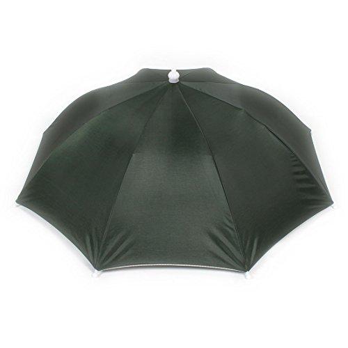 Elastic Headband Beach Umbrella Hat for Fishing Navy Green