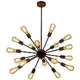Pendant Light Sputnik 18-Lights Chandelier Matte Black Pendant Lighting Adjustable, Edison Bulb E26 40W, Industrial Retro Hanging Light Fixture for Living Room, Dining Room, Kitchen, Cafe, Farmhouse