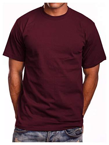 (90210 Wholesale Men Super Heavy Weight Round Neck T-Shirt Blank Plain Tee Big & Tall Comfy Camo (Burgundy, L))