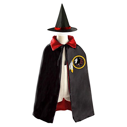 [Washington Redskins Kids Halloween Party Costume Cloak Wizard Witch Cape With Hat] (Adam Eve Costumes Halloween)
