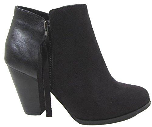 Ages Women's Chunky Soda Black Tassel Bootie Zip Heel p6dHqw5