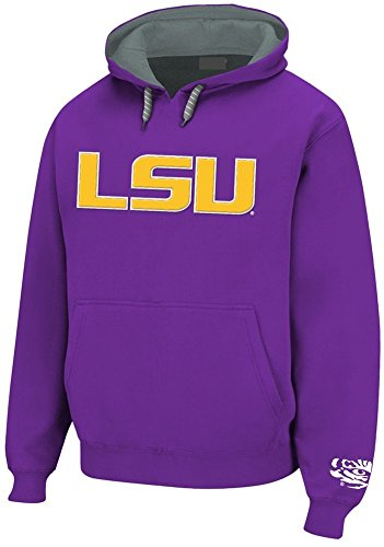 (Elite Fan Shop LSU Tigers Embroidered Hooded Sweatshirt Purple Tiger Over LSU - XL)