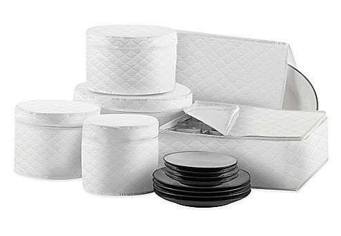 China Storage 6 Piece (Quilted 6-Piece Dinnerware and Serveware China Storage Protector Set in White by Salt)