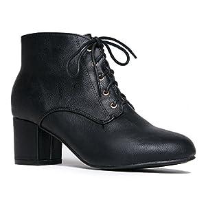 J. Adams Low Block Heel Ankle Boot - Casual Easy Lace up Bootie - Faux Suede Walking Shoe - Aubrey by
