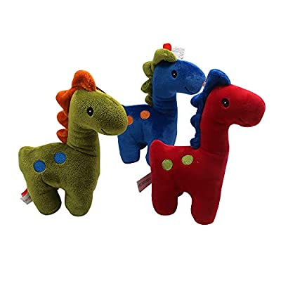 Stuffed Dinosaur Rattle Toy, Cute Friendly Stuffed Animal for Kids, Infants, Toddlers, Boys, & Girls, Ideal Gift or Décor for Baby Nursery, Bedroom, Playroom Plus Forest Animal Finger Puppet (Green): Toys & Games