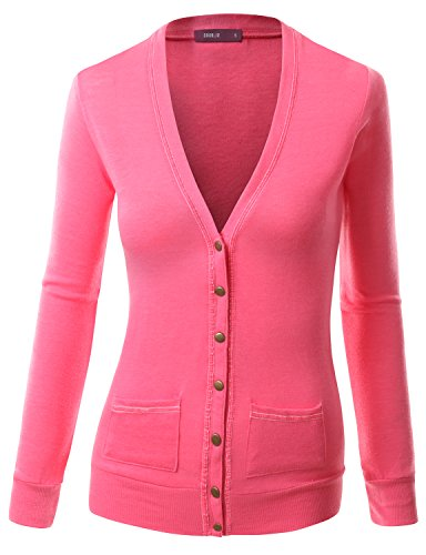 Doublju Womens Long Sleeve Sexy Button CORAL Solid Sweater CardiganM