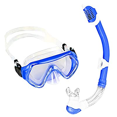 Sporzin Kids Snorkel Set with Dry Snorkel Anti Leaking Snorkel Mask and Clear Vision Snorkel Set for Child Girls Boys Snorkeling Swimming Sea Pool