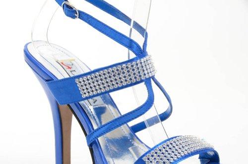 Tacchi Formali Sandalo Blu Con Cinturino Alla Caviglia Con Cinturino Alla Caviglia