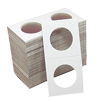 New 100 Pcs Half Dollars Size 2x2 Mylar Cardboard Coin Flips for Storage 50 Cent Holder