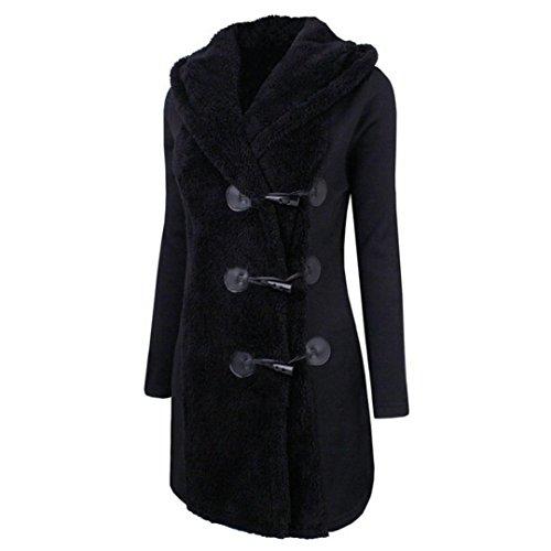 Negro mujeres botones cálidos QinMM para Abrigo coat Abrigo de grueso de Sudadera capucha con parka wxBq6