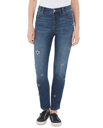 Jeans Embellished Skinny - Chico's Women's So Slimming Jewel-Embellished Girlfriend Ankle Jeans Size 12 L (2 REG) Denim