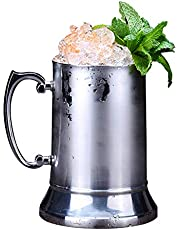 20oz Double Wall 18/8 Stainless Steel Tankard Beer Mug Shaker Patented Mould Design Enjoy Favourite Beer Drinks Style Handle in Silver