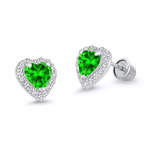 925 Sterling Silver Rhodium Plated Green Heart Cubic Zirconia Screwback Baby Girls Earrings
