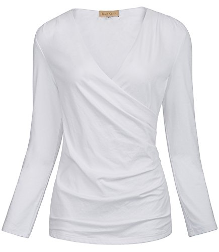 Jack Smith Fashion Women's Sexy Long Sleeve Ruched Faux Wrap Blouse (Cotton Long Sleeve Wrap)
