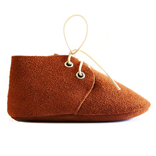 (Baby Moccasins for Boys & Girls. Premium Leather Suede Infant & Toddler Moccasins, Maple Sugar, M)