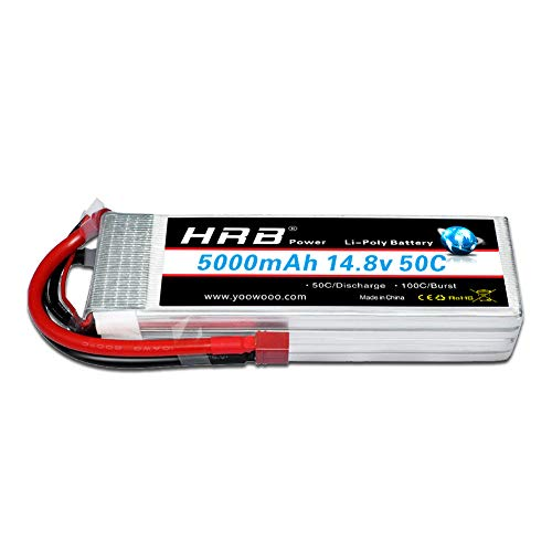 HRB 4S 14.8v 5000mAh 50C-100C Lipo Battery with T Plug for for RC Airplane, RC Helicopter, RC Car/Truck, RC Boat 4s Li Polymer Battery