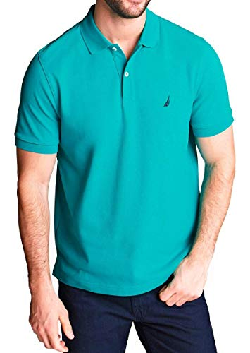 Nautica Men's Short Sleeve Solid Classic Fit Cotton Pique Polo Shirt (Medium, Crisp Green 3FC)