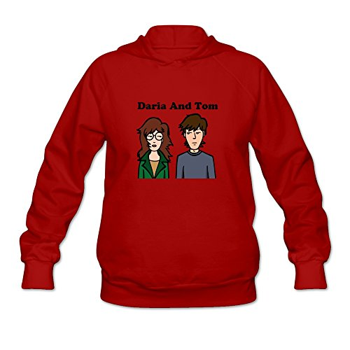Daria And Tom Fashion Roundneck Red Long Sleeve Hoodie For Women Size - Daria And Tom