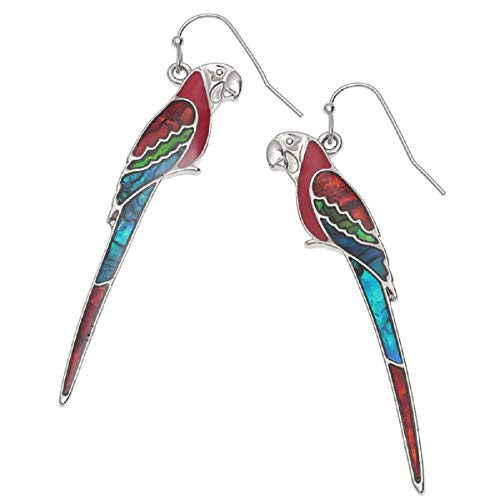 (Mirabella BellaMira Silver Birds and Bees Pendants - Hummingbird Macaw Kingfisher Woodpecker Swan Bumblebee - Necklace for Women Girls Gift Boxed Jewelry (Earrings - Red Macaw) )
