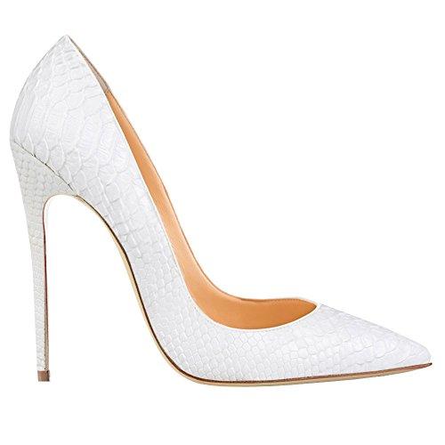 EKS - Zapatos de Tacón Mujer Weiß-Snakeskin
